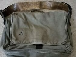 Overland equipment canvas padded laptop messenger bag with guitar strap