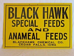VINTAGE 1940s BLACK HAWK ANAMEAL FEEDS PIG COW CHICKEN FARM 18