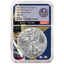 2017-w Burnished 1 American Silver Eagle Ngc Ms70 Fdi West Point Core