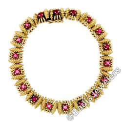 Vintage 18K Yellow Gold 2.50ctw Ruby Textured Bead Work Link Statement Bracelet