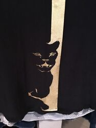 Equipment Femme silk blouse top Black Panther Cat Gold shirt Size S NWOT
