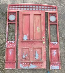 Antique Entryway Door Side Lights Arched Transom Snowflake Glass Old Vtg 390-18e
