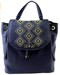 Michael Kors Authentic Womens RILEY LARGE Gold STUDDED Navy Color BACKPACK BAG