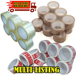 Packing Parcel 2 4 6 12 36 Tape Brown Clear Fragile 50mm X 66m Rolls Box Sealing