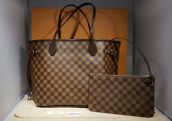 New Authentic Louis Vuitton Neverfull MM Damier Ebene Red Pochette Pouch N41358
