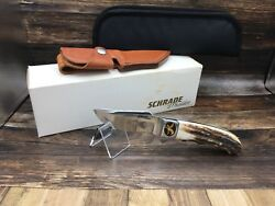 Schrade D'holder Sh03 Genuine Stag Fixed Blade Hunting Knife And Sheath Mint Box