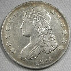 1834 0-120 Small Date Capped Bust Silver Half Dollar Rarity-4 Coin Ag45