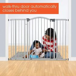 """Summer Extra Tall And Wide Safety Baby Gate Gray Metal Frame 38"""" H 29.5"""" To 53"""" W"""