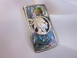 Abalone Inlaid Silver Indian Head Money Clip. Beautiful Gift And A Rare One!!!!!