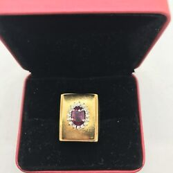 Vintage 18k Yellow White Two Gold Oval Ruby Diamond Halo Wide Rectangle Ring 15g