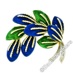 Vintage Italian 18K TT Gold Green Blue Enamel & Diamond Textured Leaf Brooch Pin