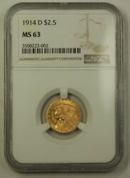 1914-d Us Indian Head Quarter Eagle Gold Coin Ngc Ms-63 Better Blazing Luster