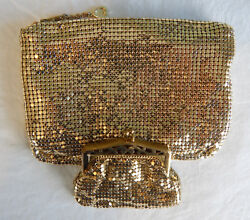 WHITING AND DAVIS VINTAGE EVENING CLUTCH HANDBAG & COIN PURSE BAG GOLD MESH