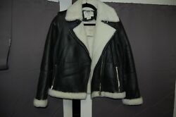 *UNWORN WITH TAG* AUTHENTIC KATE SPADE BLACK LEATHER SHEARLING JACKET COAT