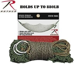 Rothco Super Hammock Olive Drab 20and039 Ft Single Size Holds Up To 880lbs 2685