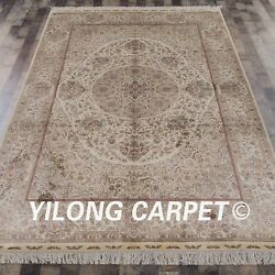 YILONG 6'x9' Handknotted Silk Carpet Persian Classic Home Floral Area Rug S71A
