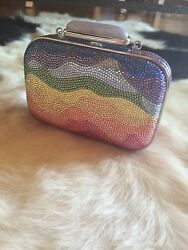 Authentic Judith Leiber Couture Rainbow Soap Dish Crystal Evening Clutch Bag
