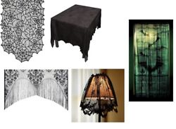 Lace Halloween Home Decorations Table Runner Lamp Shade Curtain Window