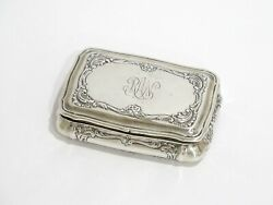 3.25 In - Sterling Silver Gilded Interior Antique Swedish Floral Snuff Box