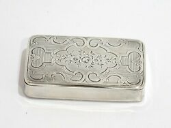 3.25 In - Sterling Silver Gilt Interior Antique French Floral Snuff Box
