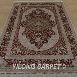 YILONG 6'x9' Handknotted Silk Persian Carpet Oriental Home Decor Red Rug 0989