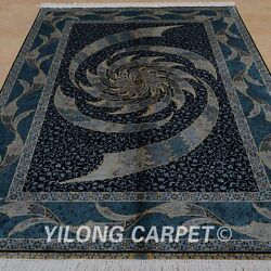 YILONG 5'x7.5' Silk Persian Handknotted Rug Home Decor Whirlwind Carpet 0796