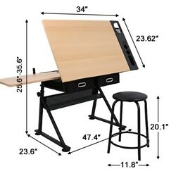 Adjustable Drafting Drawing Table Craft Tiltable Tabletop With Stool And 2 Drawers