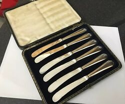 Antique Silver Plated 16.5cm Mark Willis And Son Boxed Butter Knife Knives Cutlery