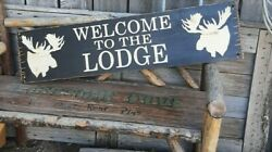 Welcome To The Lodge Rustic Carved Wood Sign, Moose, Cabin Décor, Lodge Décor