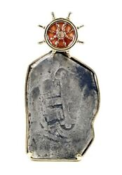 Rooswijk Mexico 8 Reales Silver Cob Coin And 14k Gold Enamel Ship Wheel Pendant