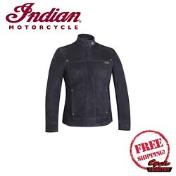 GENUINE INDIAN MOTORCYCLE WOMEN#x27;S BESSIE CASUAL LEATHER SUEDE JACKET BLACK NEW $249.99