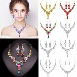 Luxury Wedding Bridal Party Crystal Rhinestone Necklace Earrings Jewelry Set NEW