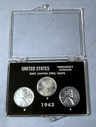 1943 Lincoln Wheat Cents | Wwii Emergency Steel Penny Set | P D S Display Case