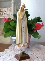 Our Lady Of Fatima 17 Inch Mary Statue Cloud Pedestal Plaster Chalkware Import