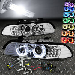 CHROME RGB COLOR RING HALO PROJECTOR HEADLIGHT+6000K HID KIT FOR 96-03 BMW E39