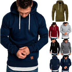 Men's Winter Hoodies Slim Fit Hooded Sweatshirt Outwear Sweater Warm Coat Jacket