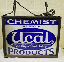 Nice Early Reverse Glass Chemist Sign 2 Sided 24 X 18 X 7