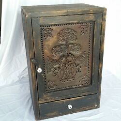 Vintage Wood Jelly Cabinet - Black - 21.25 H X 11 D X 14 W - Punched Tin Door