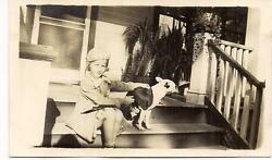 Cute Girl Kid on Front Porch Steps wCamera Shy BOSTON TERRIER Dog 1940s Photo