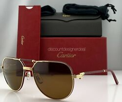 Cartier Première Sunglasses CT0053S 001 Red Leather Gold Brown Polarized Lens 61
