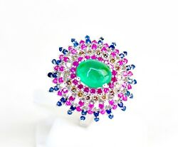 18kt White Gold Colorful Colombian Emerald Ruby Diamond Blue Sapphire Ring