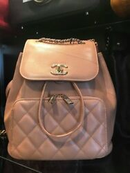 Chanel Small Caviar Leather Nude Quilted Backpack NWOT 24 Series w Dust Bag