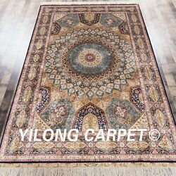 YILONG 6'x9' Handwoven Silk Persian Carpet Dome Pattern Home Office Rug Z112A