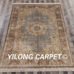 YILONG 6'x9' Handmade Persian Silk Furniture Carpet Home Decor Signed Rug Z098A
