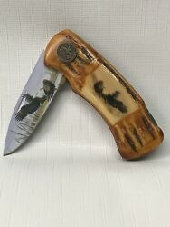 Collectors Eagle Folding Knife In Collectors Tin Box