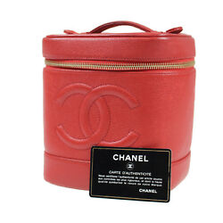 CHANEL CC Vanity Cosmetic Bag Caviar Skin Red Leather Vintage Authentic #J428 W