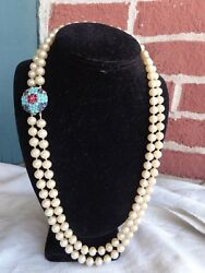VINTAGE SIGNED CROWN TRIFARI JEWELS OF INDIA FAUX TURQUOISE PEARL BEADS NECKLACE