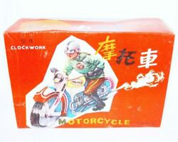 China Ms-702 Racing Motorcycle 1st Edition Wind-up Tin Toy Mib`68 Fabulous