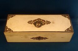 Antique 19th Century Wood White Lacquer Box Steel Mounts Red Moreen Lining Glove