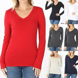 V-Neck Basic Long Sleeve Womens T-Shirt Casual Layering Top Tight Fitt